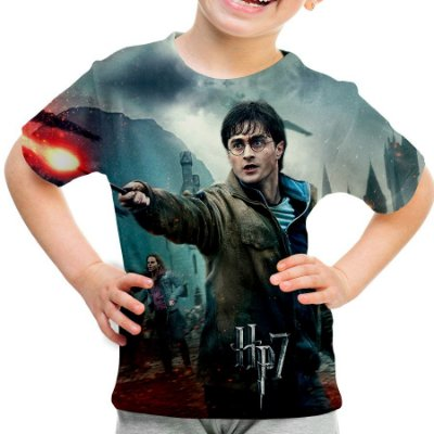 Camiseta Infantil Harry Potter Estampa Total Md02