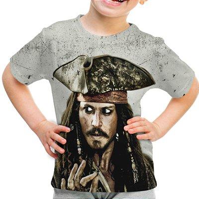 Camiseta Infantil Jack Sparrow Piratas do Caribe Estampa Total