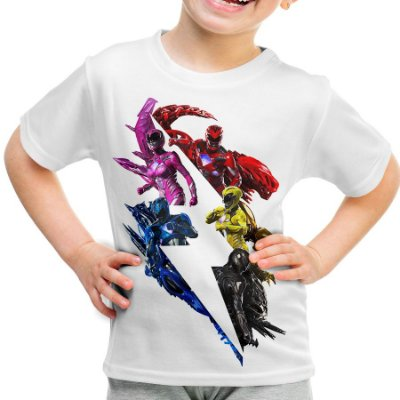 Camiseta Infantil Power Rangers Estampa Total Md02