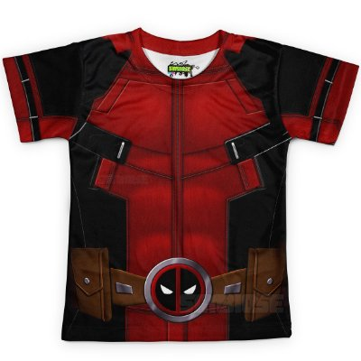 Camiseta Infantil Deadpool Traje Estampa Total