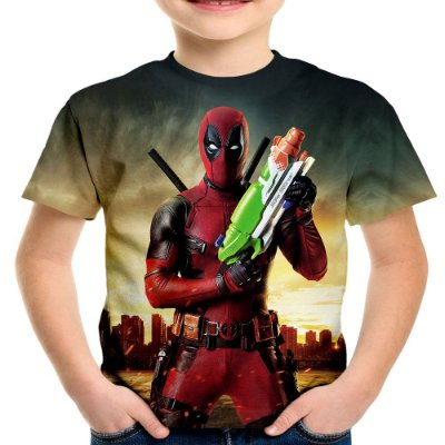 Camiseta Infantil Deadpool Estampa Total MD03