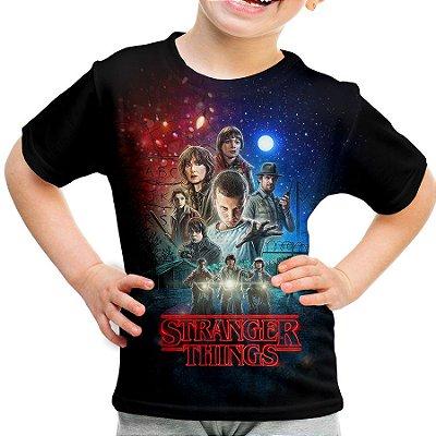 Camiseta Infantil Stranger Things Estampa Total