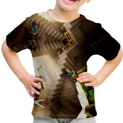 Camiseta Infantil Minecraft Estampa Total Md01