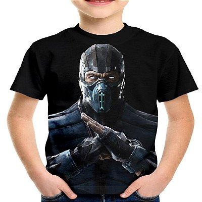 Camiseta Infantil Sub-Zero Mortal Kombat Estampa Total
