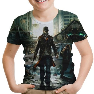 Camiseta Infantil Watch Dogs Estampa Total Md01