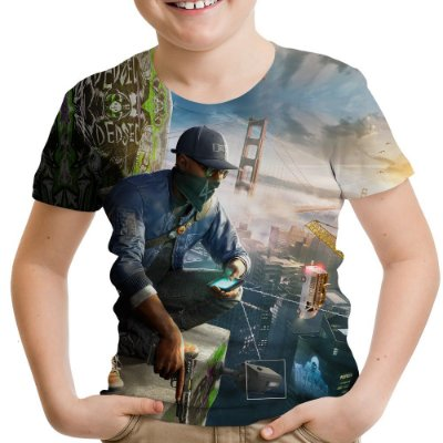 Camiseta Infantil Watch Dogs Estampa Total Md02