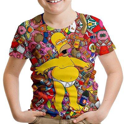 Camiseta Infantil Os Simpsons Homer Estampa Digital Md01