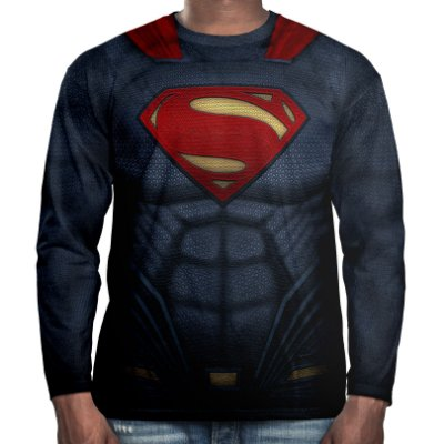Camiseta Masculina Manga Longa Superman