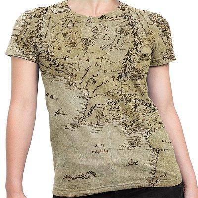 Camiseta Baby Look Feminina Terra Média Senhor Dos Anéis