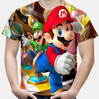 Camiseta Masculina Mario Bros Estampa Total Md01 - OUTLET