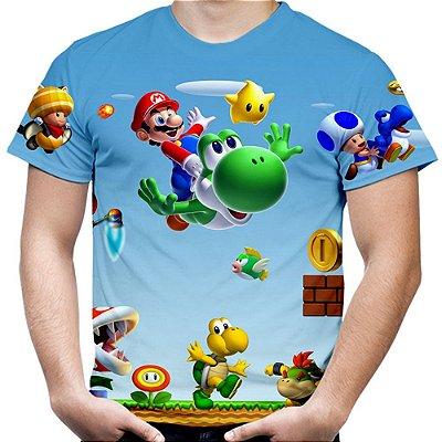 Camiseta Masculina Mario Bros Estampa Total Md02 - OUTLET
