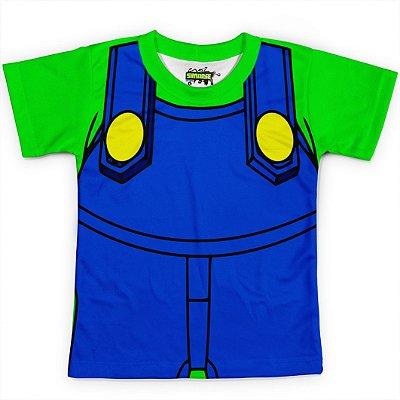 Camiseta Infantil Traje Luigi Super Mario Bros
