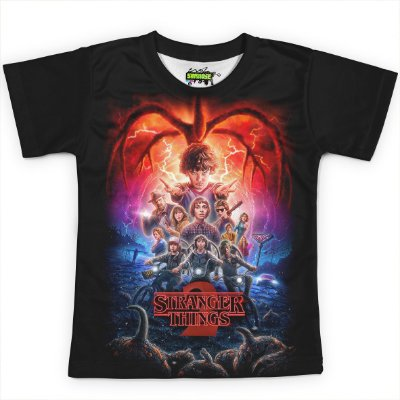 Camiseta Infantil Stranger Things Estampa Total MD03