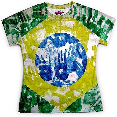 Camiseta Baby Look Feminina Brasil Bandeira Copa Md02
