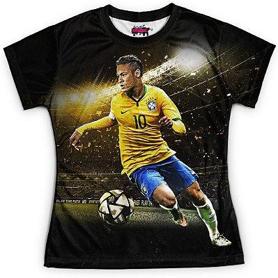 Camiseta Baby Look Feminina Neymar Brasil Copa Md01