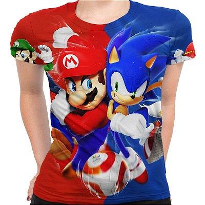 Baby look Feminina Mario Bros e Sonic Estampa Total - OUTLET
