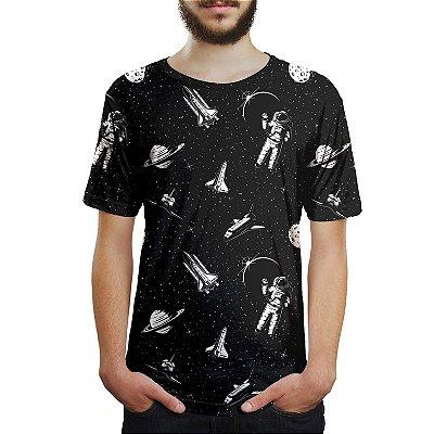 Camiseta Masculina Espacial Astronauta Estampa Digital