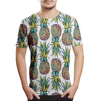 Camiseta Masculina Abacaxis Estampa Digital