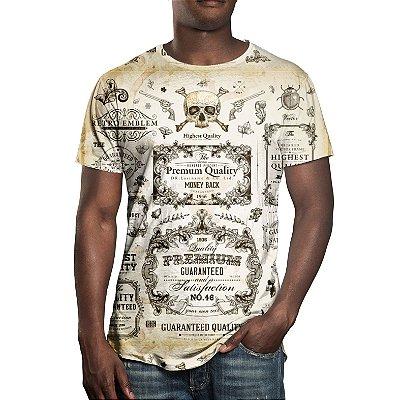 Camiseta Masculina Caligrafia Old School Estampa Digital