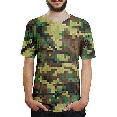 Camiseta Masculina Camuflado Pixels Estampa Digital
