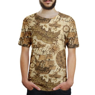 Camiseta Masculina Carta Geográfica Estampa Digital