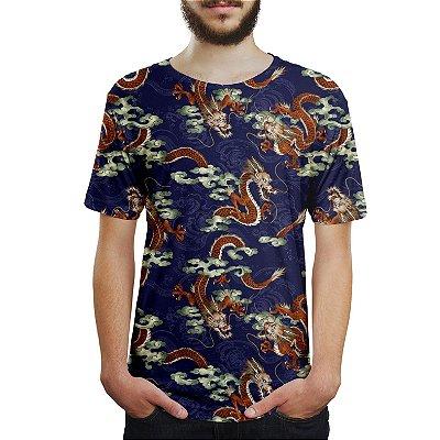 Camiseta Masculina Dragão Chinês Azul Estampa Digital