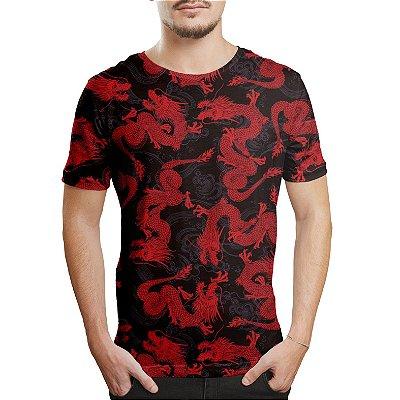Camiseta Masculina Dragão Chinês vermelho Estampa Digital