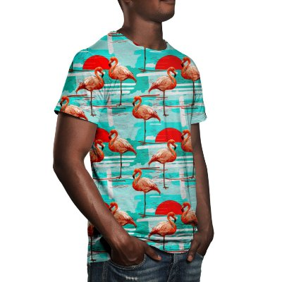 Camiseta Masculina Flamingos Estampa Digital