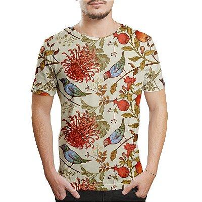 Camiseta Masculina Flor Crisântemo e Pássaros Estampa Digital
