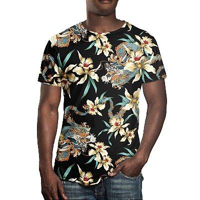 Camiseta Masculina Flor e Dragão Chinês Estampa Digital