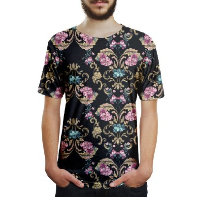 Camiseta Masculina Floral Barroco Estampa Digital