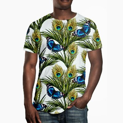 Camiseta Masculina Floral Borboletas Estampa Digital