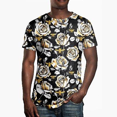Camiseta Masculina Floral Rosas e Abelhas Estampa Digital
