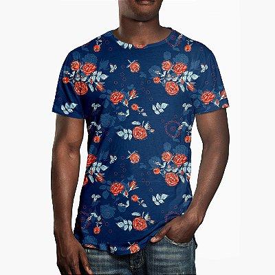 Camiseta Masculina Floral Rosas no Dark Blue Estampa Digital