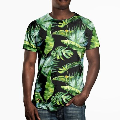 Camiseta Masculina Folhas Tropicais Estampa Digital