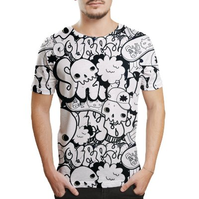 Camiseta Masculina Grafite Caveiras Estampa Digital