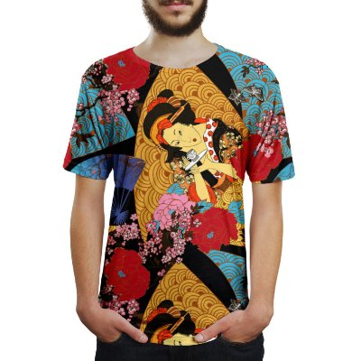Camiseta Masculina Gueixa Estampa Digital