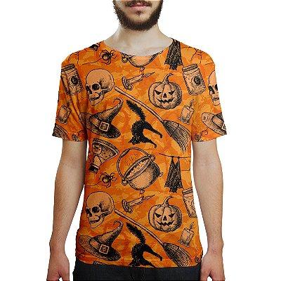 Camiseta Masculina Halloween Abóbora Estampa Digital