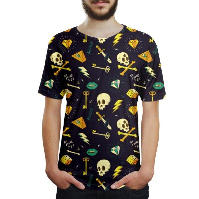 Camiseta Masculina Hipster Tattoo Estampa Digital