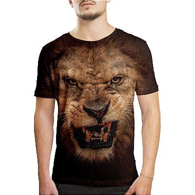 Camiseta Masculina Leão Estampa Digital