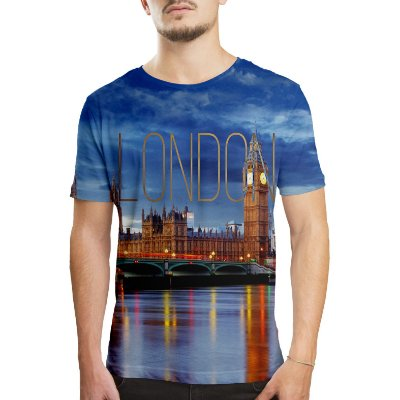 Camiseta Masculina Londres Estampa Digital