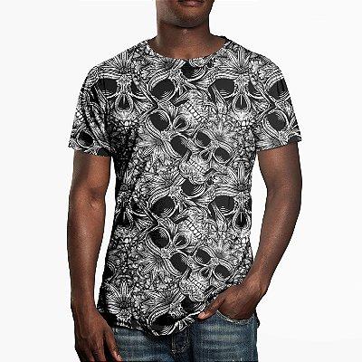 Camiseta Masculina Caveiras Estampa Digital