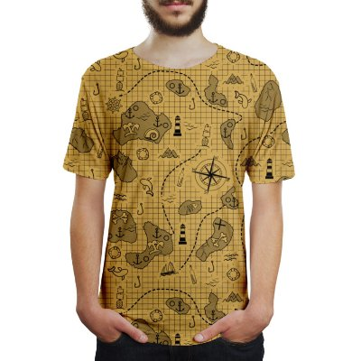 Camiseta Masculina Mapa do Tesouro Estampa Digital