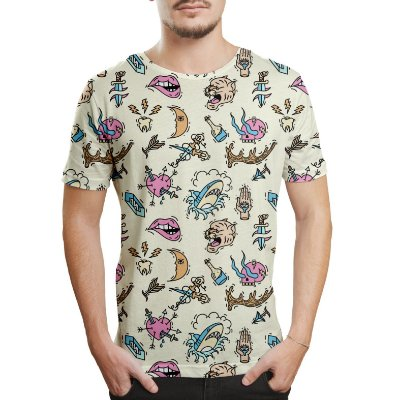 Camiseta Masculina Old School Tattoos Estampa Digital