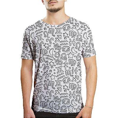 Camiseta Masculina Signos do Zodíaco Estampa Digital
