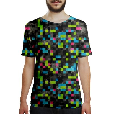 Camiseta Masculina Tecno Pixels Estampa Digital