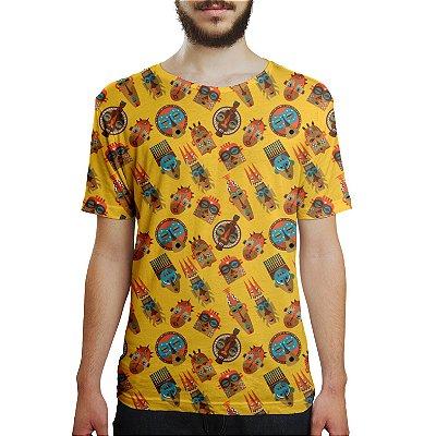 Camiseta Masculina Tribos Africanas Estampa Digital