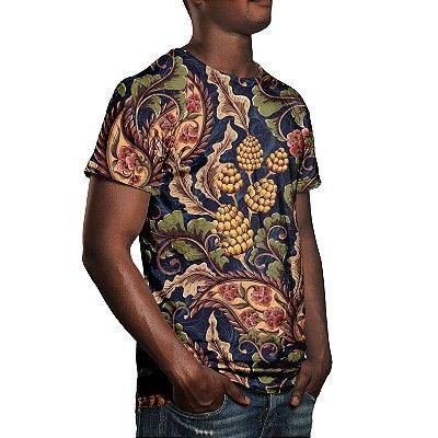 Camiseta Masculina Vintage Floral Estampa Digital