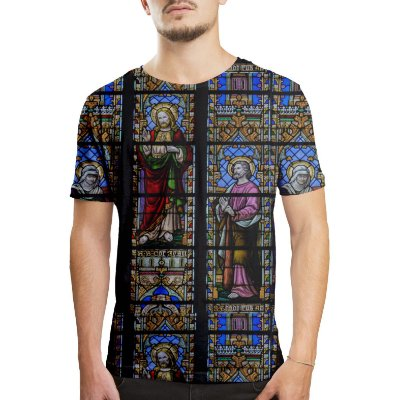 Camiseta Masculina Vitral Igreja Floral Estampa Digital