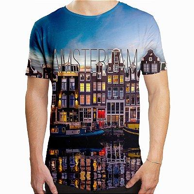 Camiseta Masculina Longline Swag Amsterdam Estampa Digital
